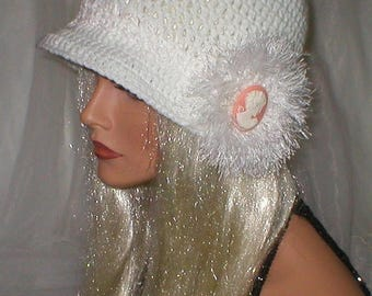 35% OFF SALE Crochet White White Chenille Victorian Cameo White Eyelash Applique Cloche Hat