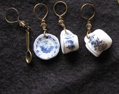 Stitch markers knitting | miniature tea set | cup and saucer | ceramic | tea time | gift