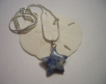 Blue star pendant, silver necklace, natural Sodalite, Jeans color, Star, pendant, silver snake chain, natural gemstone beads, gift wrapped