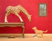 Giraffe and lion cub art, animal diorama print: Jumpin' Giraffes