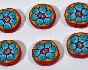 Polymer Clay Beads - Set of Six Blue Flowers
