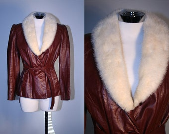 Vintage 70's Oxblood Leather Jacket with White Mink Collar