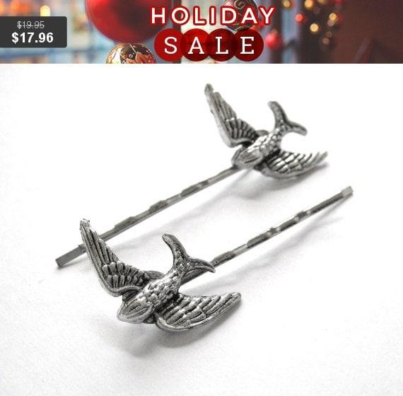 Bird Bobby Pins - Bird Hair Clips - Silver Bird Hair Pin - Barn Swallow Jewelry - Sparrow Jewelry - Womens Hair Accessories