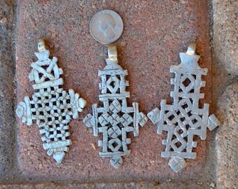 3 Coptic Cross Pendants: Larger