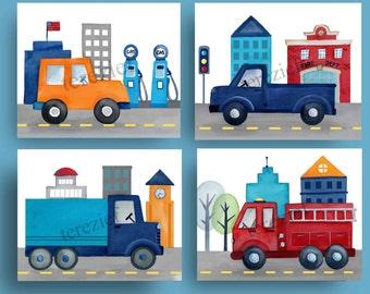 car truck art, things that go bedding art, boy nursery art prints, firetruck wall art decor