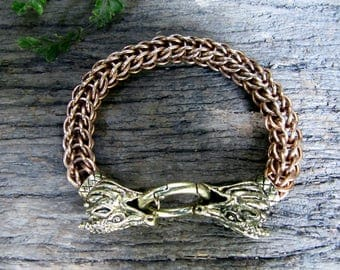 Large Bronze Chainmaille Dragon Bracelet