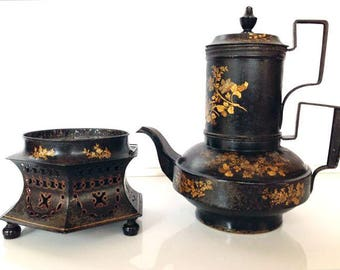 Antique Toleware - gilt painted Regency teapot - Empire cafetiere on stand with pierced brazier - 19th century collectable tole gilt flowers