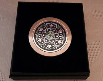 Unused Handbag Purse Mirror Compact in Box Silvertone with Enamel top Mothers Day Wedding