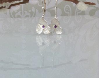 Hydrangea earrings - silver and amethyst