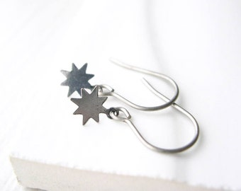 Minimalist Silver Earrings, Star Jewelry, Nickel Free Titanium Earwires, Simple, Petite, Small, Contemporary, Metal, Dangle, Satin Finish