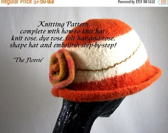 Holiday SALE Knitting Pattern Knitted Felt Hat The Florrie Pattern