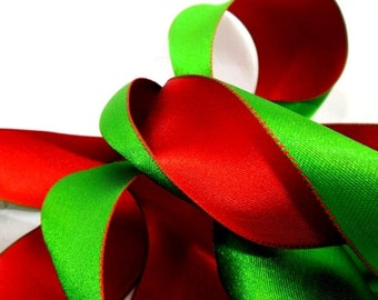 2016 Holiday SALE Christmas Ribbon - Reversible Red & Green Lush Satin Wired Edge Double-Sided