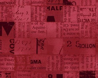 Poster Block Red Newsprint Squares - Full or Half Yard Modern Industrial Look Newspaper Squares from Stof Fabrics