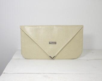 Large beige ivory envelope clutch