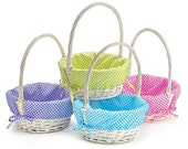 White Wicker Easter Basket with Personalized Lining