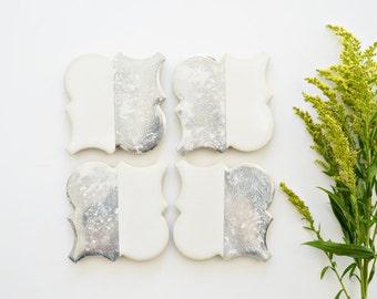 Mercury Glass Coasters - White Ceramic Coasters - Ceramic Tile Coasters - Mercury Glass Decor - Glass Coaster Set -  Christmas Gift for Her