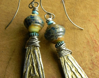 Tribal Jewelry Earrings Artisan Pewter Blue Lampwork Glass Silver Gold