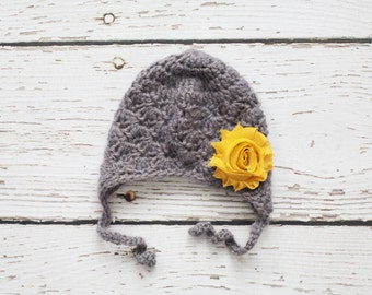Gray Baby Hat with Mustard Flower for Baby Girls, Earflap Hat, READY TO SHIP - 0 to 3 Months