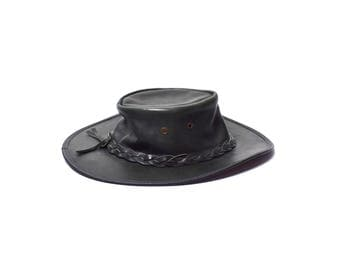 Black Leather Hat with Brim || Size Small