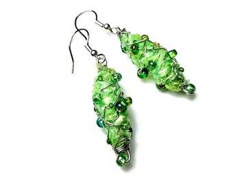 Light Green Dangle Earrings, Repurposed Recycled Upcycled, Handmade Bead Earrings