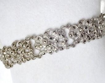 Antique Marcasite Art Deco Bracelet, STERLING Silver 1920s Great Gatsby Bridal Bracelet Vintage Wedding Wide Link Gray Rhinestone Paste