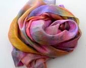 Unhemmed, Hand dyed Silk Gauze, Wrap, Hand dyed Silk, Nuno felting, Silk fabric, Silk, Ready to Ship, Make your Own,  74 x 22 inches U19