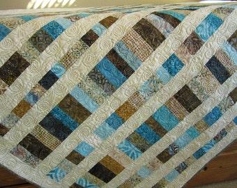 Batik Quilt, Handmade Quilt, Patchwork Quilt, Lap Quilt, Quilted Throw, Homemade Quilt, Sofa Quilt, Home Decor, Blue Brown Quilt