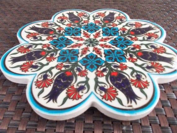 Vintage Arnicea Iznik Turkish Ceramic Tile Trivet With Floral