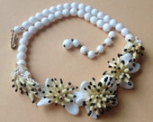 White and Yellow Floral Art Glass Necklace – German Hand Sewn 1950s Jewelry