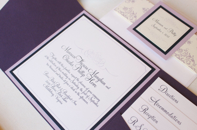 Purple Pocket Invitation, Dark Purple Wedding Invite, Damask Invite ...