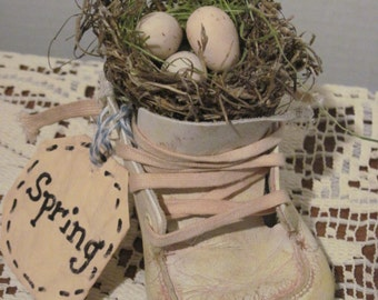 Vintage Baby Shoe with Bird Nest and Pink Clay Eggs