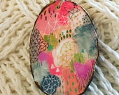 Pink Hand Painted Wood Ornament