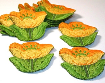 Yellow Tulip Applique, Tulip Applique, Yellow Tulip, 1960s Flowers, Tulip Flower, Embroidered Applique, Embroidered Flower, Green and Yellow