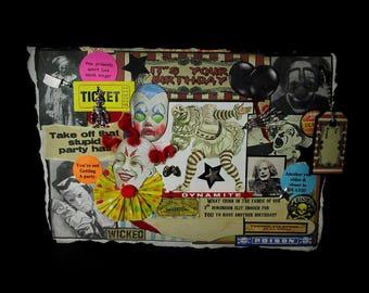 Creepy Clown Card, Birthday Greeting, Scary Clown Card, 81, Birthday Card, Clown, Vintage Clown Images, Circus Clown, Creepy Decoration