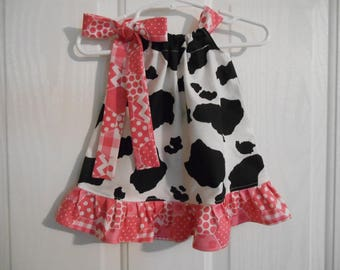 Pillowcase cow print dress with dot chevron gingham tie and ruffle infant through 7/8 years