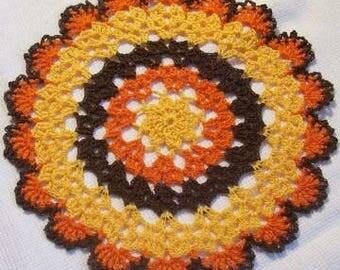 Thanksgiving doily harvest turkey fall autumn crochet thread home decor unique gift heart