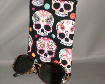 Day of the Dead - Eyeglass or Sunglasses Case - Zipper Top - Padded Zippered Pouch - Dia de los Muertos