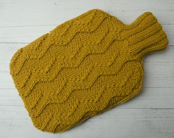 Knitted Hot water bottle Cover in Yellow Zig-Zag Wool and alpaca