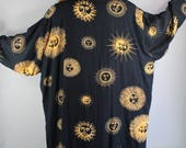 Plus Size Black Suns Celestial Print Robe, Casual Robe, Kimono Style Robe, Boudoir, Art Deco, Dressing Gown, extra Large, FREE SHIPPING