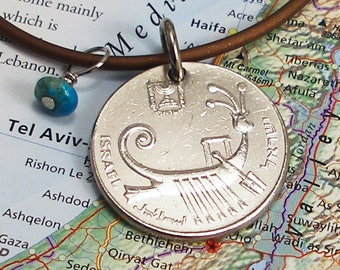 Israel, Vintage Coin Necklace --- Ancient Naval History --- Warship - Maritime - Military - Navy - Travel Charms -Archeology - Rowing - Boat