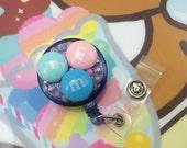 Fake Candy Sweets Kawaii Pastel Fairy Kei  Badge Reel Retractable ID Clip Name Tag Holder Nurse CNA Technician Medical Nursing