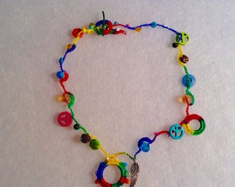 Necklace crochet multi color peace sign angel wing