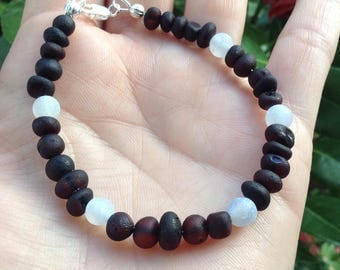 Raw shined Baltic Amber and frosted Agate bracelet - grounding - process & release anger - natural pain relief