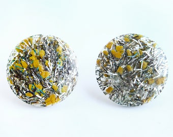Vintage Lucite Silver and Yellow Confetti Earrings ~ Retro Costume Jewelry
