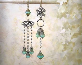 Opal Aqua Asymmetric Earrings Blue Teardrop Earrings Mint Green Chandelier Earrings Pale Turquoise Mismatch Earrings Czech Roman Glass Style