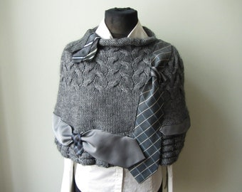 Dark Gray Sweater Poncho detailed with Repurposed Neckties, Grey Knit Poncho, Cable Knit Poncho, Upcycled Sweaters, Refashioned Clothing