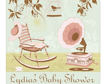 Custom Baby Shower Labels Personalized Sweet Dreams Rocking Chair Gramophone Birdcage Square Glossy Designer Stickers
