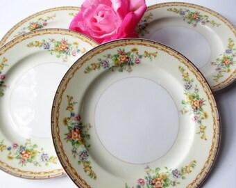 Vintage Salad Plates Mico Ware Floral Set of Four