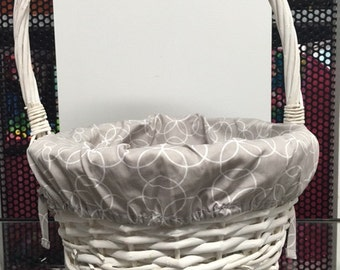 Personalized Easter basket white gray fabric liner