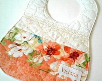 Gift for baby - White and orange floral - Light peach details - Handmade baby bib - baby shower gifts ready to ship - patchwork and diamond.